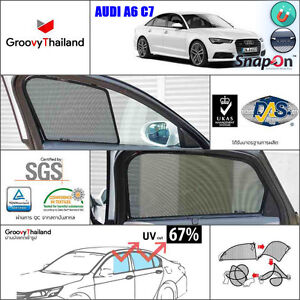 4 Pcs Audi A6 C7 Fit Shape Foldable Mesh Curtain Sun Shade Magnetic Snapon