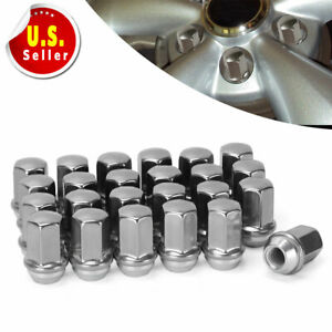 24 Chrome 14x1 5 Stainless Lug Nuts For Chevy Silverado Suburban Tahoe Avalanche
