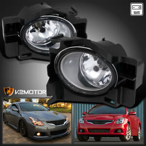 For 2008 2012 Altima 2dr Coupe Bumper Fog Light Clear Wiring Switch Kit