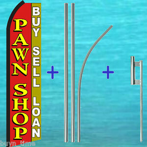 Pawn Shop Flutter Feather Flag 15 Tall Premium Pole Mount Kit Swooper Banner