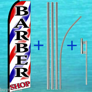 Barber Shop 15 Swooper Flag Kit W Mount Advertising Sign Feather Bow Banner