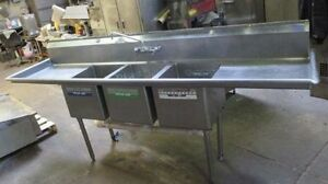 103 Stainless Steel 3 Compartment Sink With L r Drain Boards