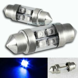 2x Universal 31mm Blue 4 Smd Led Festoon Replacement Dome Map Glove Light Bulb