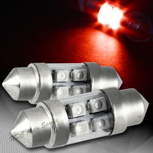 2x 31mm 4 Smd Red Led Festoon Dome Map Glove Box Trunk Replacement Light Bulb