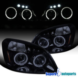 2005 2010 Chevy Cobalt Smoke Halo Led Projector Headlights Glossy Black Pair