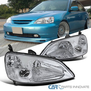 Fit 2001 2003 Honda Civic Em Es 2dr 4dr Coupe Sedan Jdm Chrome Headlights Lamps