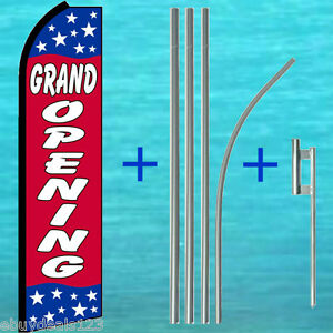 Grand Opening Swooper Flag 15 Tall Pole Mount Flutter Feather Banner Sign