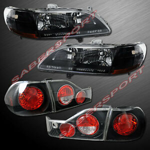 Combo Set Of Black Headlights Taillights For 1998 2000 Honda Accord 4dr Sedan