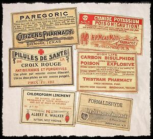 20 Poison Vintage Look Victorian Apothecary Labels Halloween Steampunk Primitive