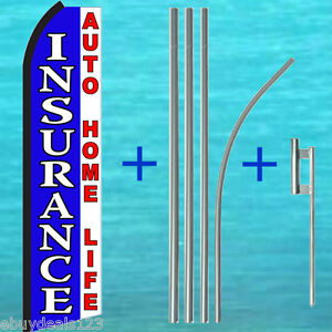 Insurance Auto Home Life Swooper Flag 15 Tall Pole Kit Flutter Feather Banner