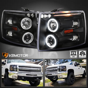 For 2007 2014 Chevy Silverado 1500 2500 3500 Led Halo Projector Headlights Black