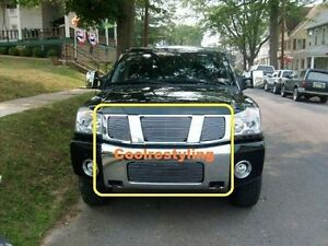 For 2004 2005 2006 2007 Nissan Titan Armada Billet Grill Combo Logo Covered