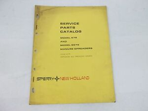 New Holland Models 676 And S676 Manure Spreaders Service Parts Catalog sale