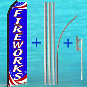 Fireworks Swooper Flag 15 Tall Pole Mount Kit Flutter Feather Banner Sign