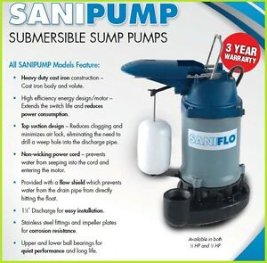 Saniflo Sanipump 1 3 Hp Submersible Sump Pump