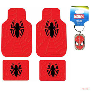New Superhero Spider Man Red Car Truck Suv Front Rear Back Rubber Floor Mats