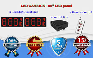 2 X 20 Red Led Gas Price Changer Panel Digital Signs 5 Years Warranty