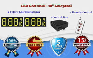 2 X 18 Yellow Led Gas Price Changer Panel Digital Signs 5 Years Warranty