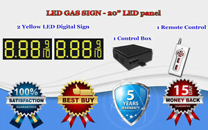 2 X 20 Yellow Led Gas Price Changer Panel Digital Signs 5 Years Warranty