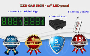 2 X 12 Green Led Gas Price Changer Panel Digital Signs 5 Years Warranty
