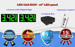 2 X 16 Green Led Gas Price Changer Panel Digital Signs 5 Years Warranty