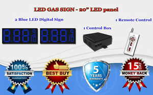 2 X 20 Blue Led Gas Price Changer Panel Digital Signs 5 Years Warranty