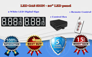 2 X 20 White Led Gas Price Changer Panel Digital Signs 5 Years Warranty
