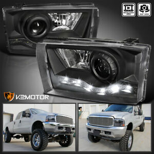 Fits Ford 1999 2004 F250 F350 Black Projector Headlights Lamps W Smd Led Drl
