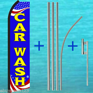 Car Wash Swooper Flag 15 Tall Pole Mount Kit Flutter Feather Banner Sign