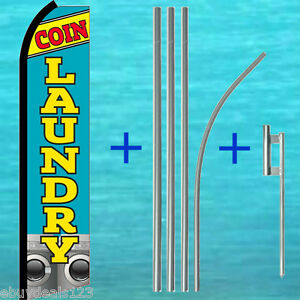 Coin Laundry Swooper Flag 15 Tall Pole Mount Kit Flutter Feather Banner Sign