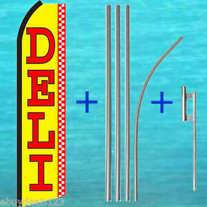 Deli Swooper Flag 15 Tall Pole Mount Kit Flutter Feather Banner Sign 25 1968
