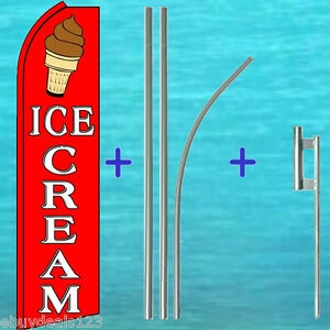 Ice Cream Swooper Flag 15 Tall Premium Pole Mount Kit Flutter Feather Banner