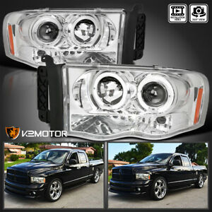 2002 2005 Dodge Ram 1500 2500 3500 Led Halo Projector Headlights Chrome
