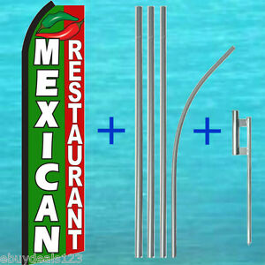 Mexican Restaurant Swooper Flag Pole Mount Kit Flutter Feather Banner Sign