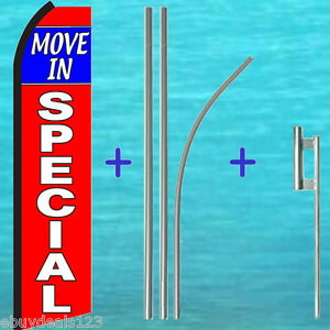 Move In Special Swooper Flag 15 Premium Pole Mount Kit Flutter Feather Banner