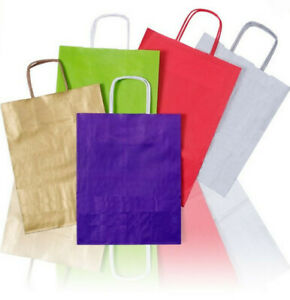 Coloured Party Gift Clothes Kraft Twisted Paper Handle Carrier Bags