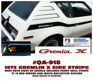 Qa 918 1973 Amc American Motors Gremlin X Side And Grill Stripe Decal