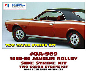 Qa 969 1968 69 Amc American Motors Javelin Rally Stripe Decal Two Color