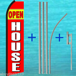Open House Swooper Flag 15 Tall Pole Kit Flutter Feather Banner Sign 25 1978