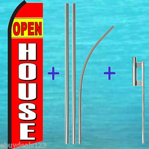 Open House Red Swooper Flag 15 Tall Premium Pole Kit Flutter Feather Banner
