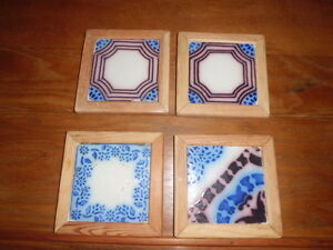 Antique Vintage Pas De Calais French Tiles Bottle Coaster Set Of 4