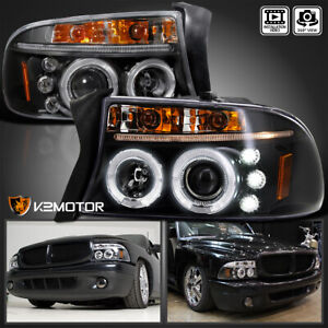 For 1997 2004 Dodge Dakota Durango Led Drl Halo Projector Headlights Black Pair
