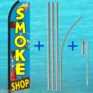 Smoke Shop Swooper Flag 15 Tall Pole Mount Kit Flutter Feather Banner Sign