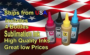 Sublimation Ink For Epson Stylus C88 4 X 100ml Bottles Sublimation Ink