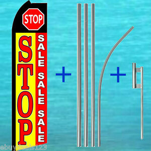 Stop Sale Swooper Flag 15 Tall Pole Mount Kit Flutter Feather Banner Sign