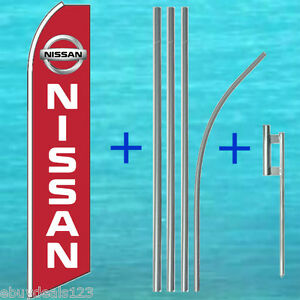 Nissan Red Swooper Flag 15 Tall Pole Mount Kit Flutter Feather Banner Sign