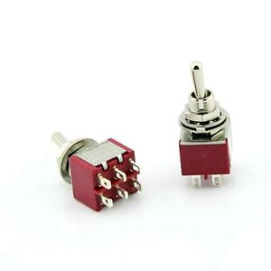 Dpdt Mini Toggle Switch On on Solder Lug High Quality Usa Seller