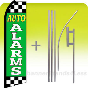 Auto Alarms Swooper Flag Kit Feather Flutter Banner Sign 15 Tall Gz