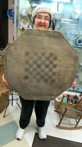 Very Old Wood 8 Sided Game Board Old Original Paint Auction Barn Find Dirty