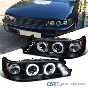 For 93 97 Toyota Corolla Black Halo Projector Headlights Headlamps Left Right